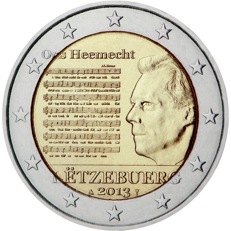 Image of 2 euro coin - The National Anthem | Luxembourg 2013