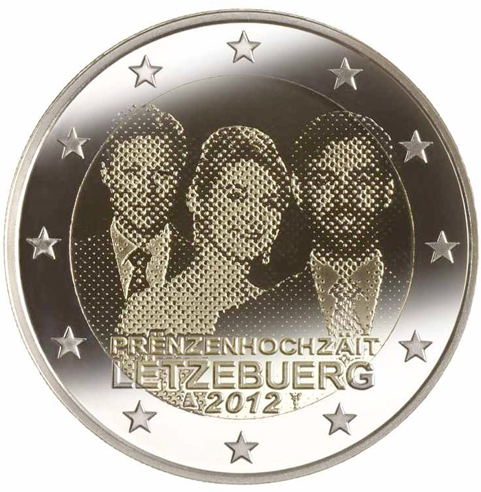 Image of 2 euro coin - Royal Wedding | Luxembourg 2012