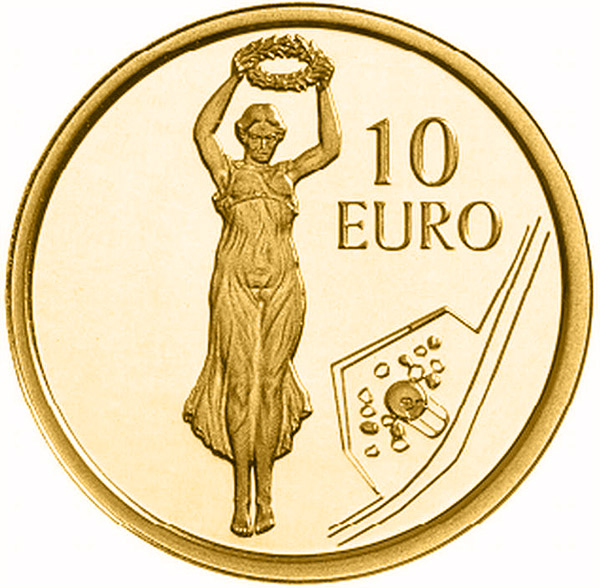 Image of 10 euro coin - Gëlle Fra - Golden Lady | Luxembourg 2013.  The Gold coin is of Proof quality.