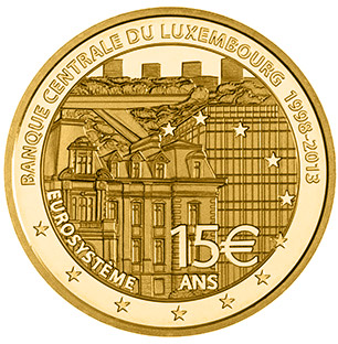 Image of 15 euro coin - 15th Anniversary of the Banque Centrale Du Luxembourg | Luxembourg 2013.  The Gold coin is of Proof quality.