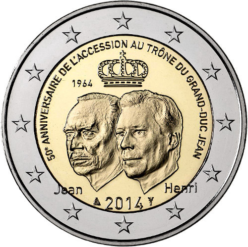 Image of 2 euro coin - 50th Anniversary of the Accession to the Throne of Grand Duke Jean | Luxembourg 2014