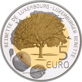 Image of 5 euro coin - Reinnete | Luxembourg 2014.  The Bimetal: silver, nordic gold coin is of Proof quality.