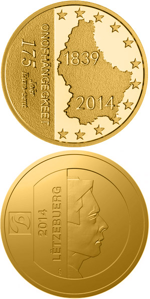 Image of 1.75 euro coin 175 Years Independance Of Luxembourg | Luxembourg 2014.  The Silver coin is of Proof quality.