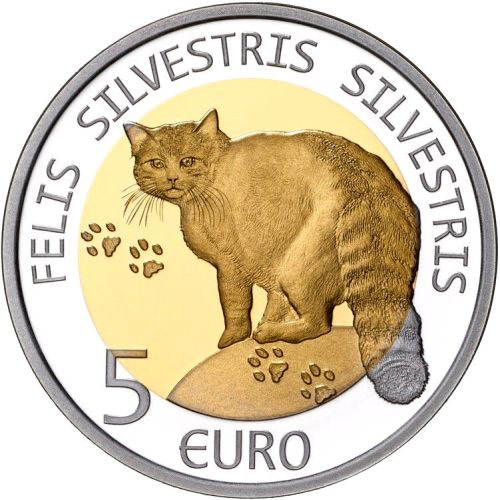 Image of 5 euro coin Wildcat | Luxembourg 2015.  The Bimetal: silver, nordic gold coin is of Proof quality.