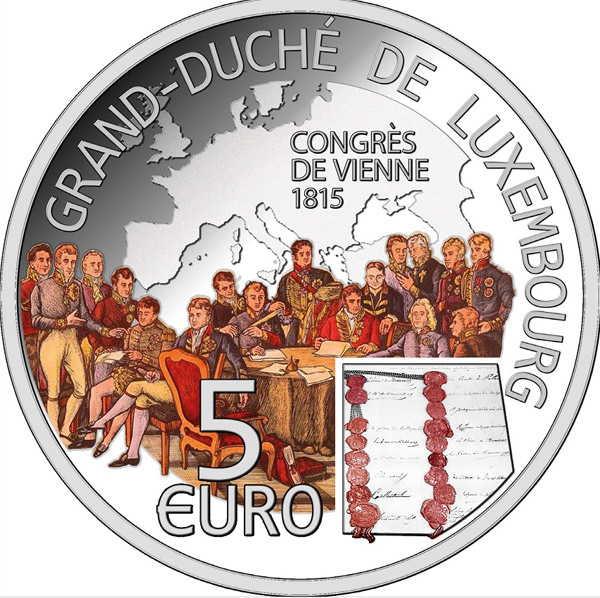 Image of 5 euro coin Congress of Vienna | Luxembourg 2015