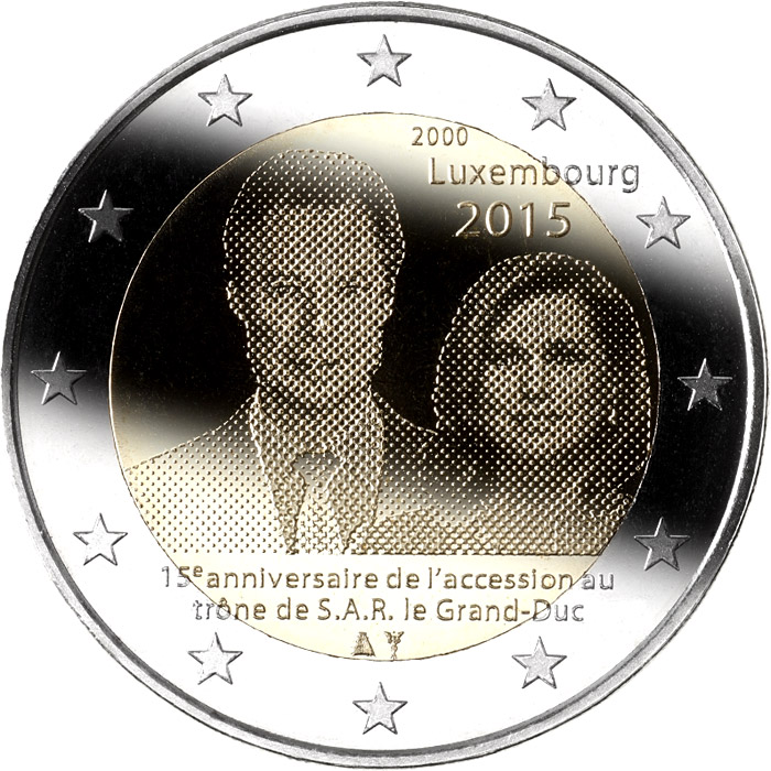 2 euro | Luxembourg | 15th anniversary of the accession to the throne of H.R.H. the Grand Duke  | 2015