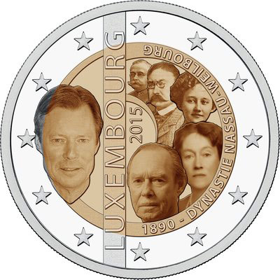 Image of 125th anniversary of the House of Nassau-Weilburg – 2 euro coin Luxembourg 2015