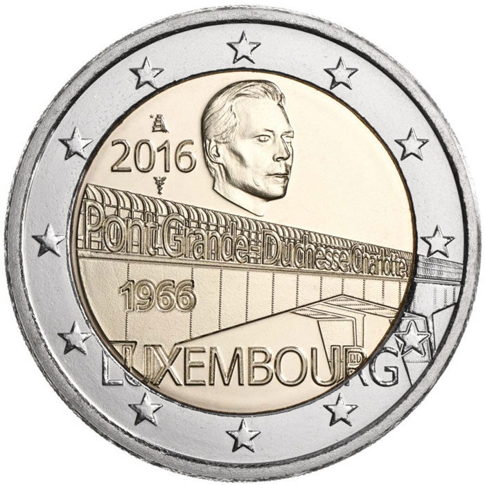 Image of 2 euro coin – 50 Years of Grand Duchess Charlotte Bridge | Luxembourg 2016