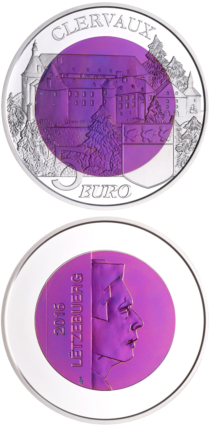Image of 5 euro coin Chateau Clervaux | Luxembourg 2016.  The Bimetal: silver, niobium coin is of BU quality.
