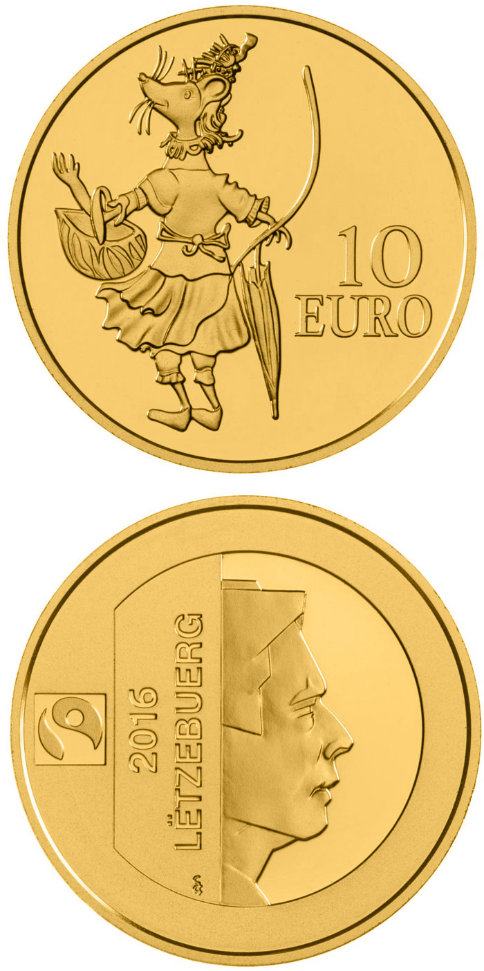 Image of 10 euro coin - D'MAUS KETTI | Luxembourg 2016.  The Gold coin is of Proof quality.