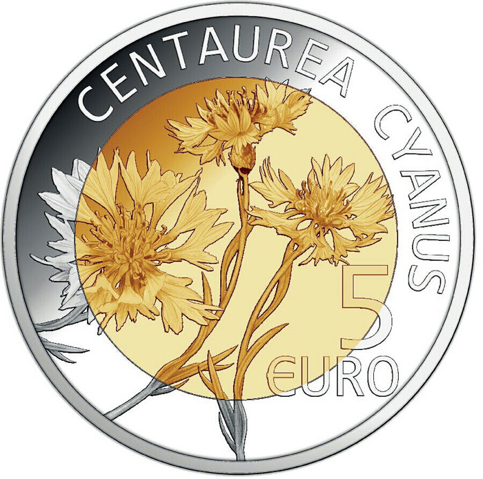Image of 5 euro coin - Centaurea Cyanus | Luxembourg 2016.  The Bimetal: silver, nordic gold coin is of Proof quality.