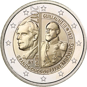 Image of 2 euro coin – 200th Birthday of the Grand Duke William III  | Luxembourg 2017