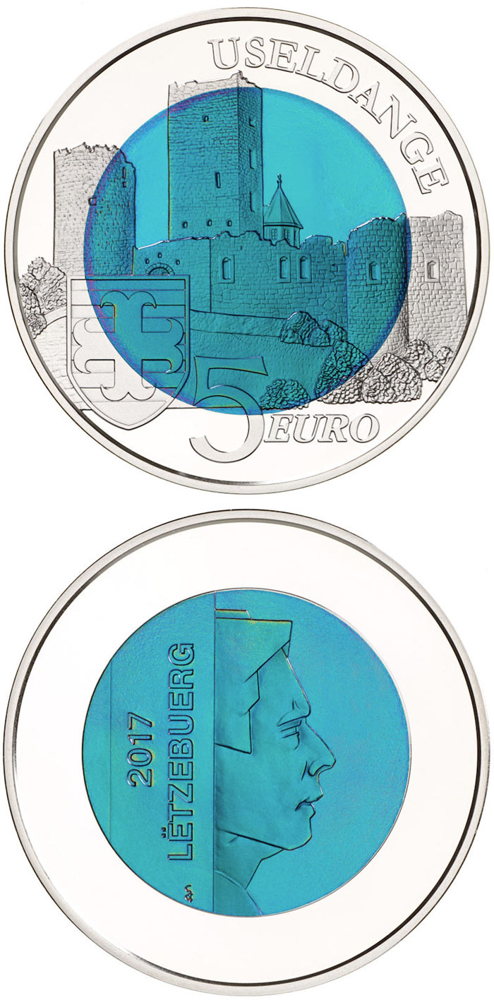 castle of useldange 5 euro coin luxembourg 2017. Black Bedroom Furniture Sets. Home Design Ideas