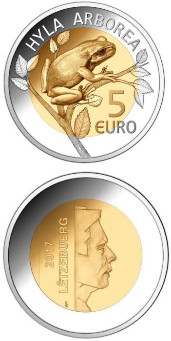 5 euro European Tree Frog (Hyla Arborea) - 2017 - Series: Fauna and Flora in Luxembourg - Luxembourg