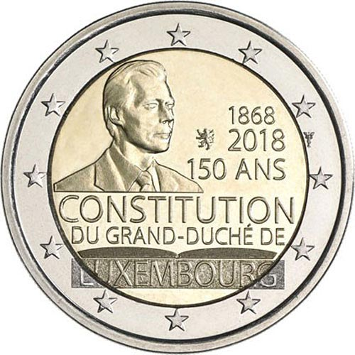 Image of 2 euro coin – 150th Anniversary of the Luxembourg Constitution | Luxembourg 2018