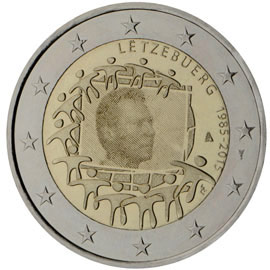 Image of 2 euro coin - The 30th anniversary of the EU flag | Luxembourg 2015
