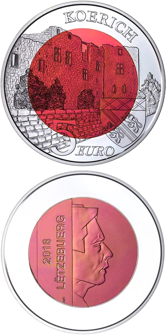 Image of 5 euro coin - Koerich Castle | Luxembourg 2018.  The Bimetal: silver, niobium coin is of BU quality.