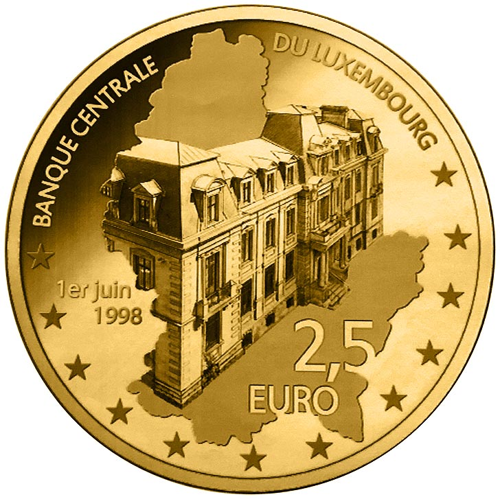 Image of 5 euro coin - 20th Anniversary of BCL creation | Luxembourg 2018.  The Silver coin is of Proof quality.