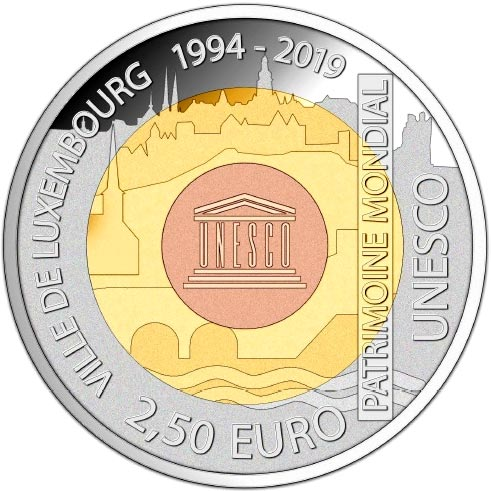 Image of 2.5 euro coin Ville De Luxembourg 1994 - 2019 | Luxembourg 2019.  The Bimetal: silver, nordic gold coin is of Proof quality.