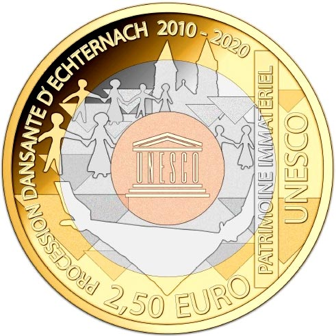 Image of 2.5 euro coin – Procession Dansante D'Echternach 2010 - 2020 | Luxembourg 2020.  The Bimetal: silver, nordic gold coin is of Proof quality.