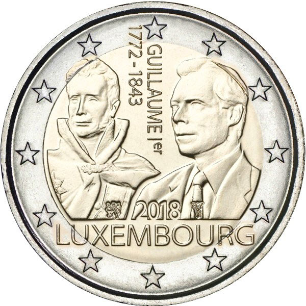 Image of 2 euro coin – 125th Anniversary of the Death of Guillaume I | Luxembourg 2018