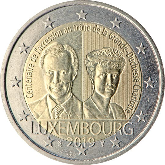 Image of 2 euro coin – 100th anniversary of the arrival on the throne and marriage of Grand Duchess Charlotte | Luxembourg 2019