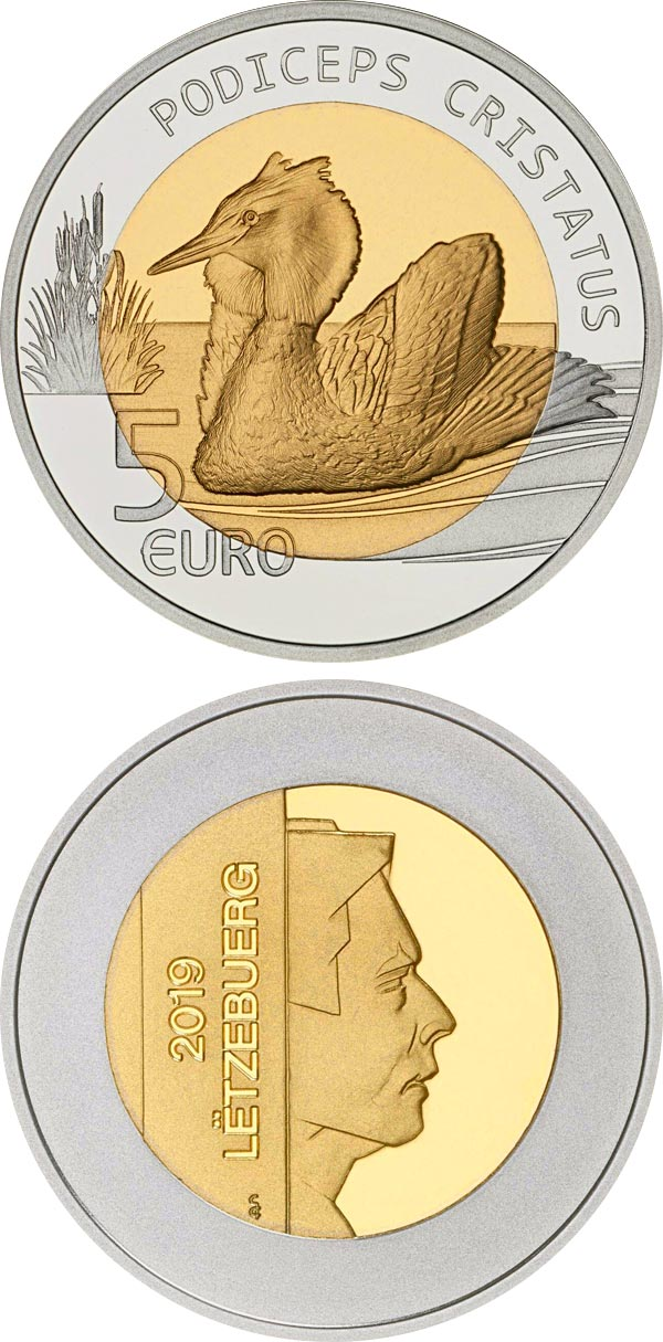 Great Crested Grebe Luxembourg 2019 Silver and Nordic Gold Proof