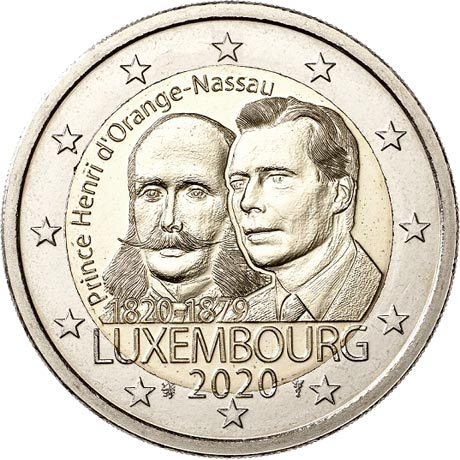 Image of 2 euro coin - 200th Anniversary of the Birth of Prince Henry | Luxembourg 2020