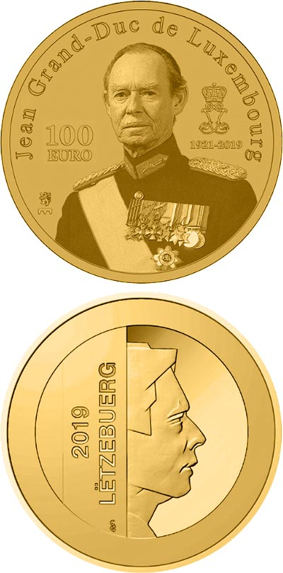 Image of 100 euro coin - In Memory to the Grand Duke Jean