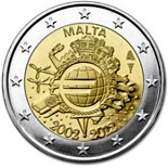 2 euro coin Ten years of Euro  | Malta 2012