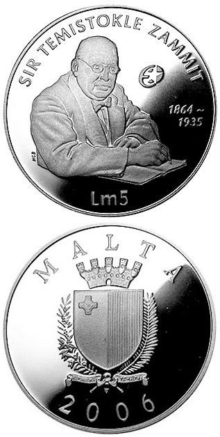 Image of 5 lira coin – Sir Temistokle Zammit  | Malta 2006.  The Silver coin is of Proof quality.