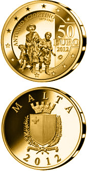 Image of 50 euro coin - Antonio Sciortino - Les Gavroches | Malta 2012.  The Gold coin is of Proof quality.