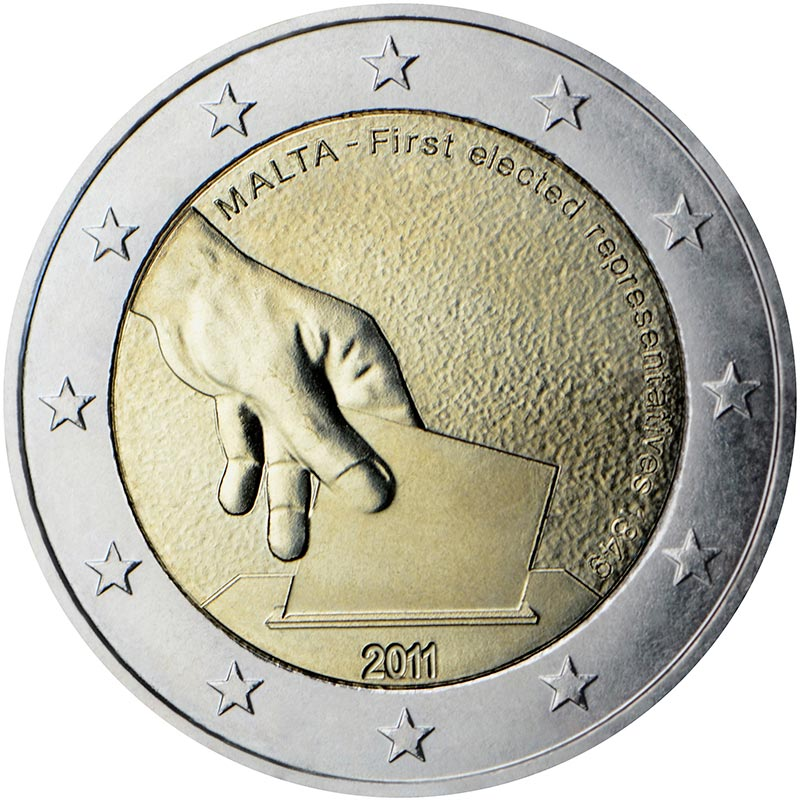 Image of 2 euro coin – Constitutional history – first election of representatives in 1849  | Malta 2011
