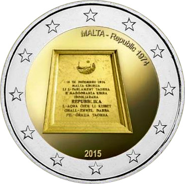 Image of 2 euro coin - Republic 1974 | Malta 2015