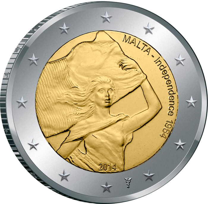Image of 2 euro coin - 50 Years of Independence | Malta 2014