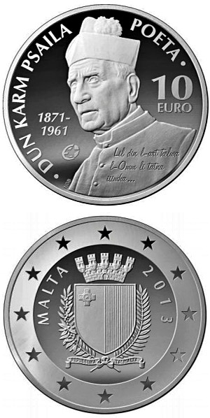 Image of 10 euro coin - Dun Karm Psaila | Malta 2013.  The Silver coin is of Proof quality.