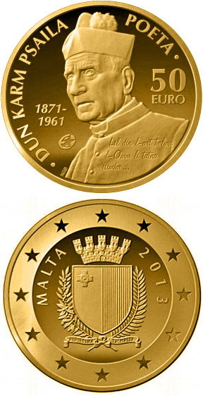 Image of 50 euro coin - Dun Karm Psaila | Malta 2013.  The Gold coin is of Proof quality.
