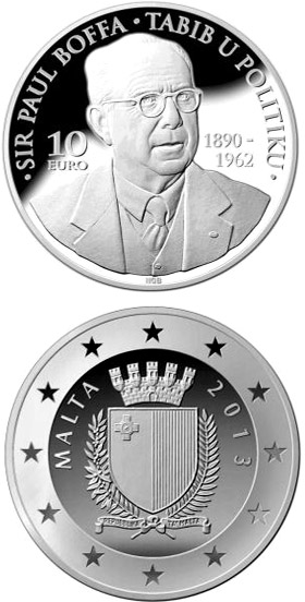 Image of 10 euro coin - Sir Paul Boffa | Malta 2013.  The Silver coin is of Proof quality.