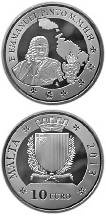 Image of 10 euro coin - Grand Master Emmanuel Pinto | Malta 2013.  The Silver coin is of Proof quality.