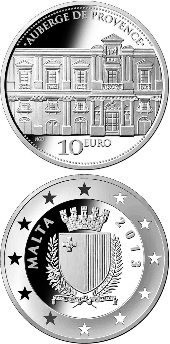 Image of 10 euro coin - Auberge de Provence | Malta 2013.  The Silver coin is of Proof quality.