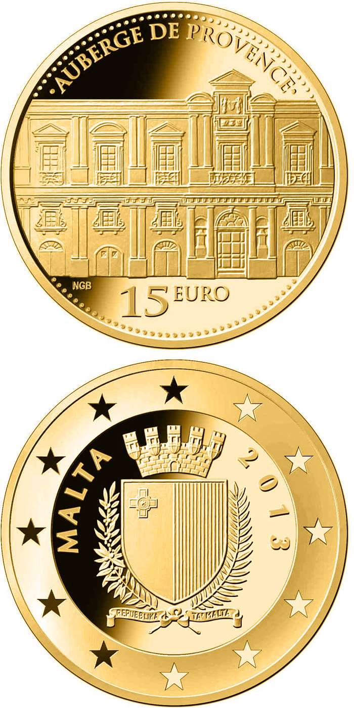 Image of 15 euro coin - Auberge de Provence | Malta 2013.  The Gold coin is of Proof quality.