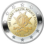 Image of 2 euro coin - 200 Years Malta Police Force | Malta 2014