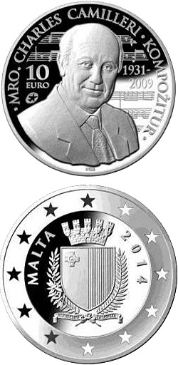 Image of 10 euro coin – Charles Camilleri | Malta 2014.  The Silver coin is of Proof quality.