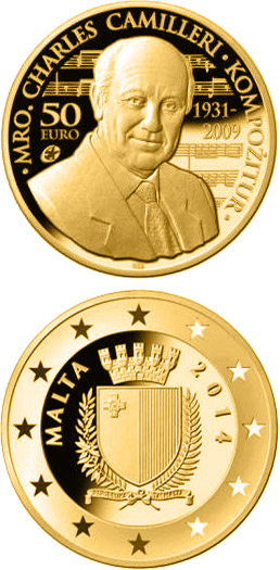 Image of 50 euro coin – Charles Camilleri | Malta 2014.  The Gold coin is of Proof quality.