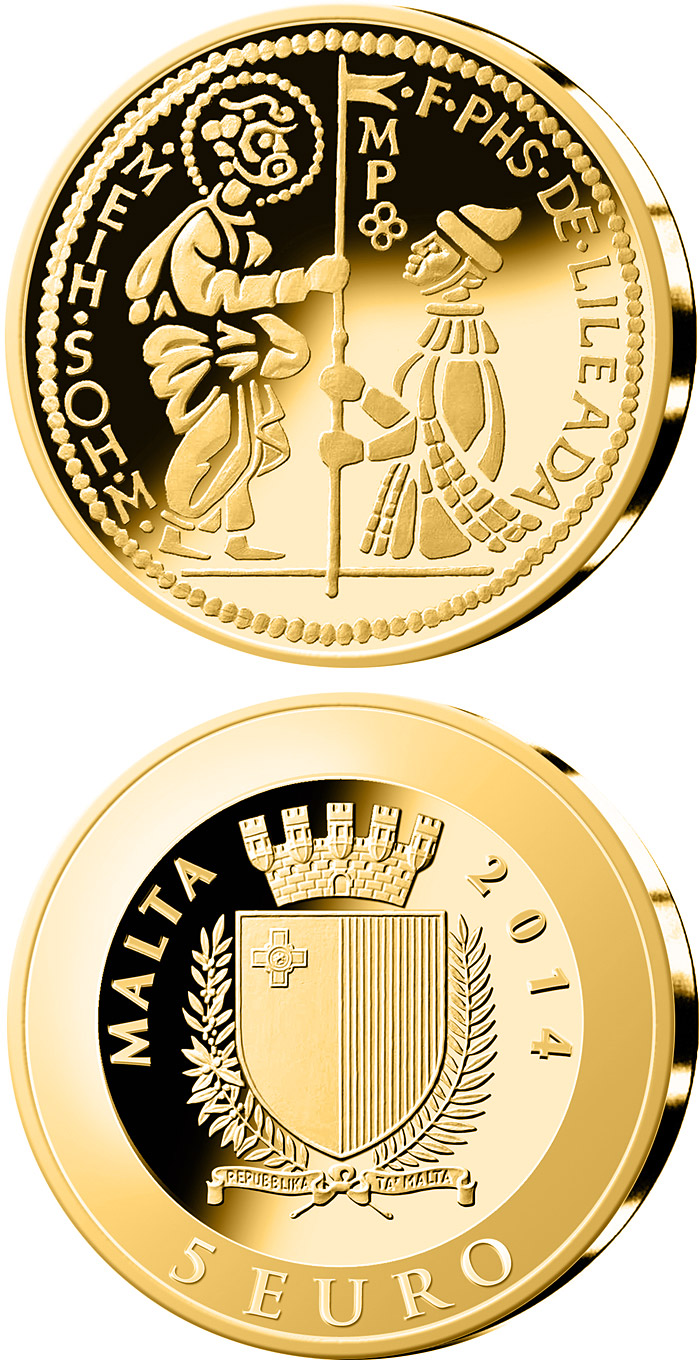 Image of 5 euro coin The Zecchino | Malta 2014.  The Gold coin is of Proof quality.
