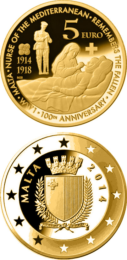 Image of 5 euro coin - 100th anniversary of the First World War | Malta 2014