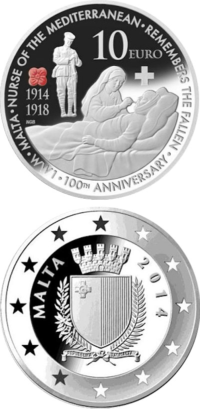 Image of 10 euro coin - 100th anniversary of the First World War | Malta 2014.  The Silver coin is of Proof quality.