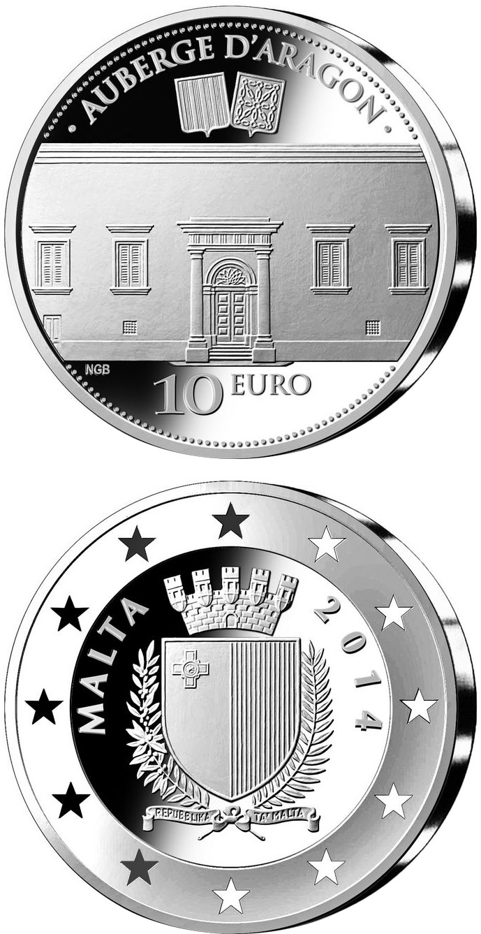 Image of 10 euro coin - Auberge d'Aragon  | Malta 2014.  The Silver coin is of Proof quality.