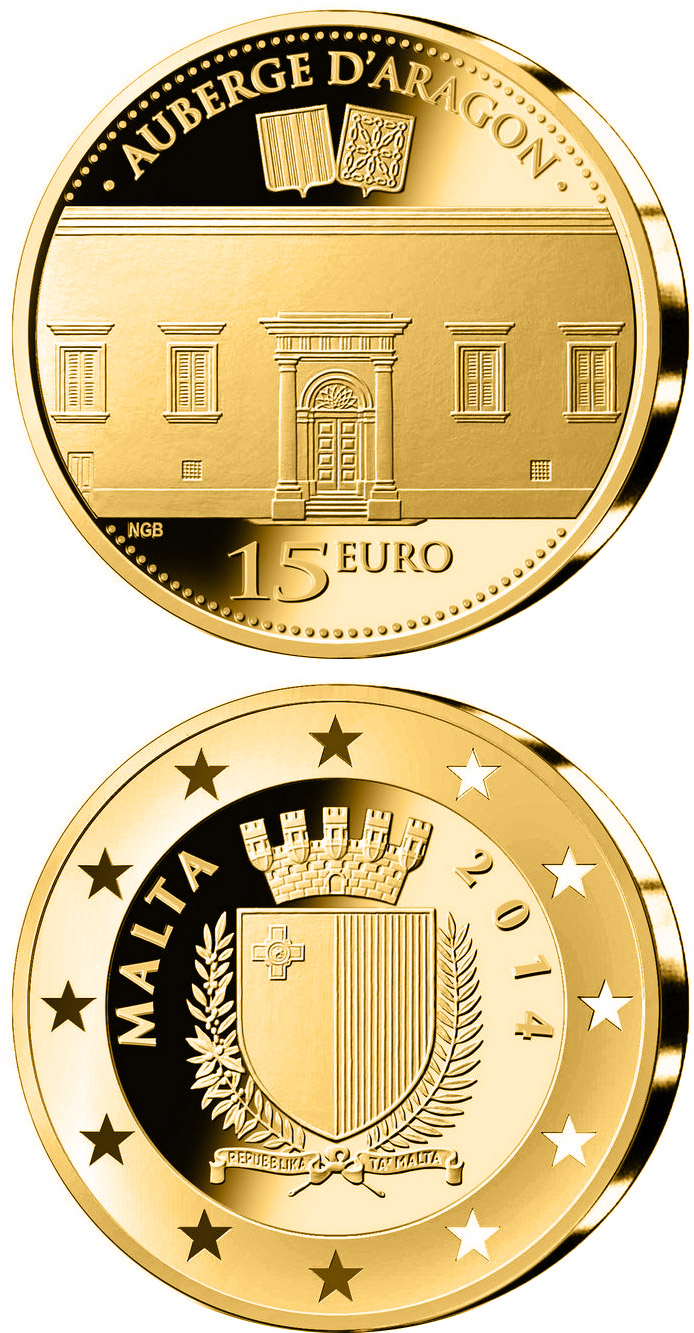 Image of a coin 15 euro | Malta | Auberge d'Aragon  | 2014