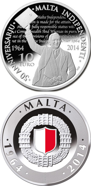 Image of 10 euro coin - 50th Anniversary of Malta Independence | Malta 2014.  The Silver coin is of Proof quality.